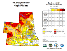 High Plains Drought Monitor map October 5, 2021.