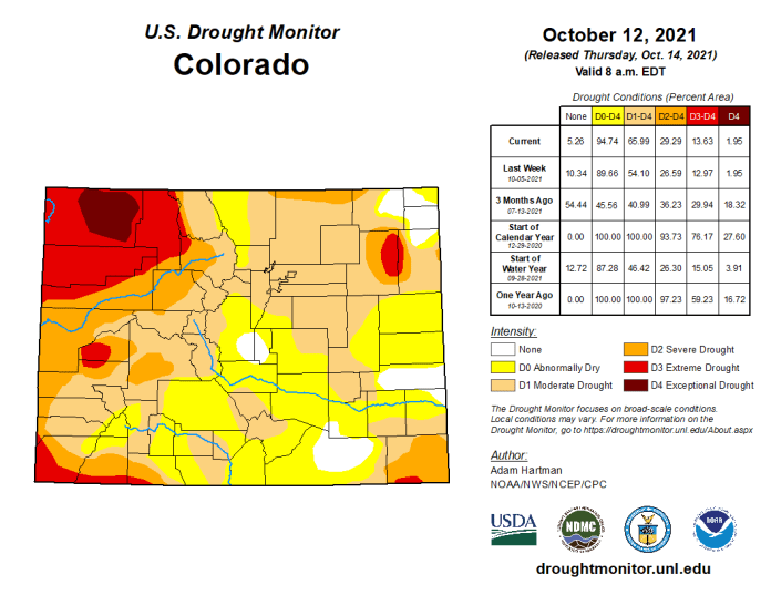 Colorado Drought Monitor map October 12, 2021.
