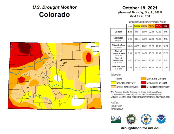 Colorado Drought Monitor map October 19, 2021.