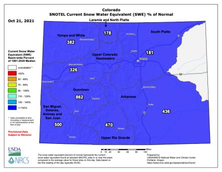 Colorado snowpack October 21, 2021.