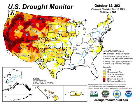 US Drought Monitor map October 12, 2021.