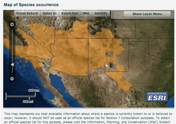 Southwestern willow flycatcher estimate habitat via the USFWS.
