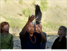 """""""Water is life; water is sacred,"""" said Southern Ute Sun Dance Chief Kenny Frost, who led a ceremony to heal the Animas River on Sunday at sunrise at Santa Rita Park in Durango"""