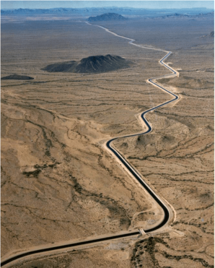 The Central Arizona Aqueduct delivers water from the Colorado River to underground aquifers in southern Arizona. UT researcher Bridget Scanlon recommends more water storage projects like the aqueduct to help protect against variability in the river's water supply. U.S. Bureau of Reclamation.