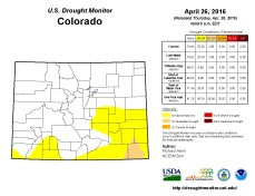 Colorado Drought Monitor April 26, 2016.
