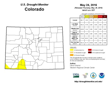 Colorado Drought Monitor May 24, 2016.