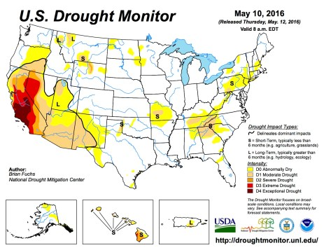 US Drought Monitor May 10, 2016.
