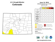 Colorado Drought Monitor June 14, 2016.