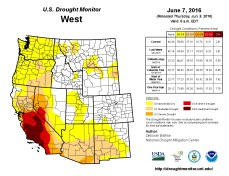 West Drought Monitor June 7, 2016.