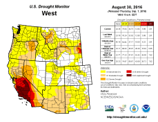 West Drought Monitor August 30, 2016.