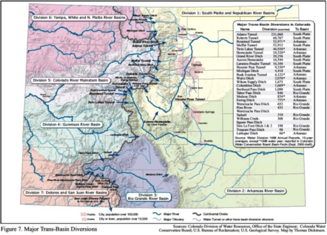 This graphic shows the transmountain diversions in Colorado. The Bousted Tunnel, at 53,871 AF, the Twin Lakes Tunnel, at 46,930 AF, and the Busk-Ivanhoe Tunnel, at 4,123 AF, have taken (in this data set) a combined average of 105,024 AF a year from the top of the Roaring Fork and Fryingpan rivers headwaters.