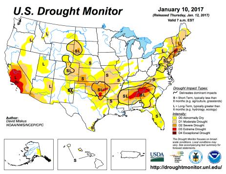 US Drought Monitor January 10, 2017.