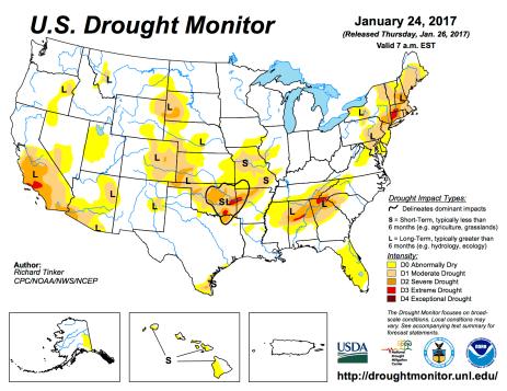 US Drought Monitor January 24, 2017.