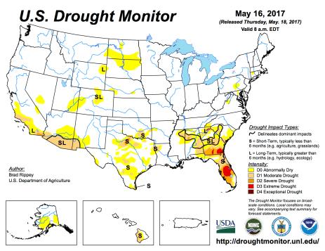 US Drought Monitor May 16, 2017.