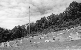 Hillside cemetery in Lanagan, Missouri