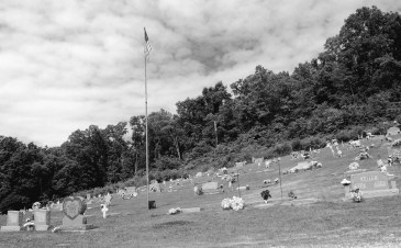 Hillside cemetery in Lanagan, Missouri