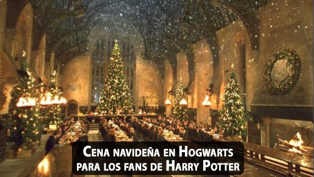 Cena navidea en el Gran Comedor de Hogwarts para los fans