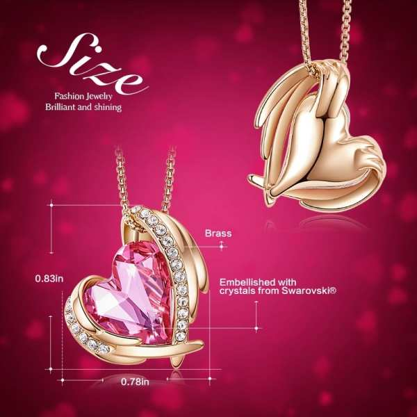 CDE Women Gold Necklace Pendant Embellished with Crystals from Swarovski Heart Necklace