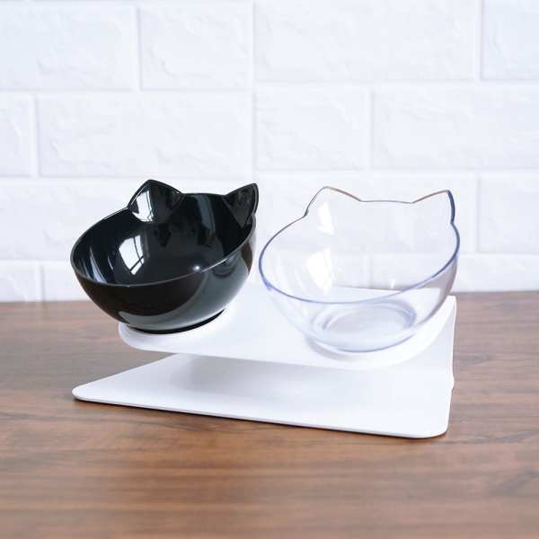 Non slip Cat Bowls Double Pet Bowls With Raised Stand Pet Food and Water Bowls For