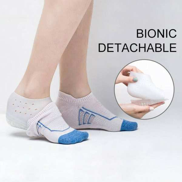 1 Pair Increased Breathable Comfortable Hard Wearing Solid Anti Slip Heel Insole Unisex Invisible Heightening Soft