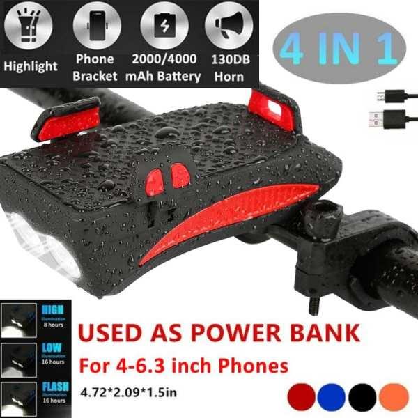 USB Rechargeable LED Bicycle Headlight Bike Horn Handlebar Phone Holder 4 in 1 multi function 2000