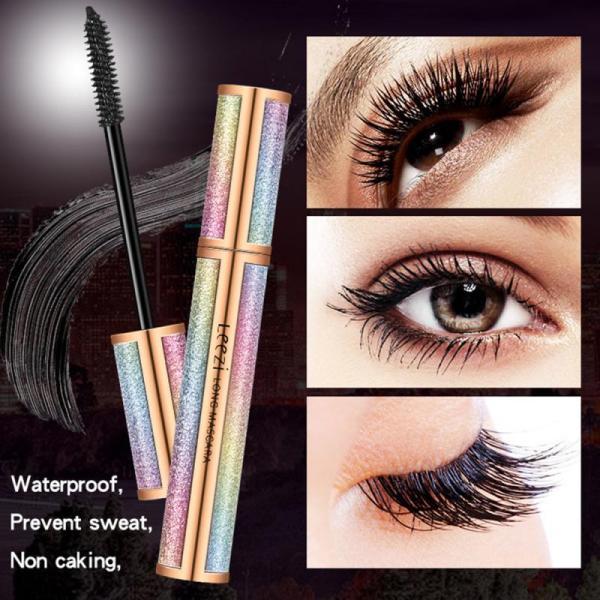 Leezi Mascara 4d Silk Fiber Lash Long Curling Mascara Makeup Eyelash Black Waterproof Extension Lengthening Eye