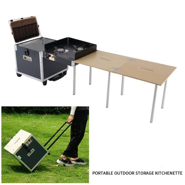 Outdoor Mobile Kitchen Camping Portable Folding Table Stove Folding Stove Camping Barbecue Self driving Picnic Equipment