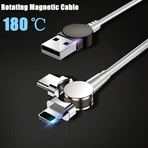 1M 2 4A USB Magnetic Cable 180 Free Rotation Fast Charging Data Transfer Cable For IPhone