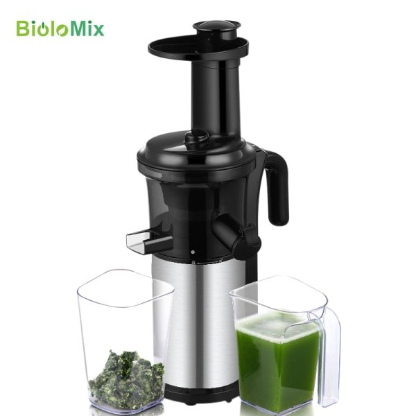 200W 40RPM Stainless Steel Masticating Slow Auger Juicer Fruit and Vegetable Juice Extractor Compact Cold Press