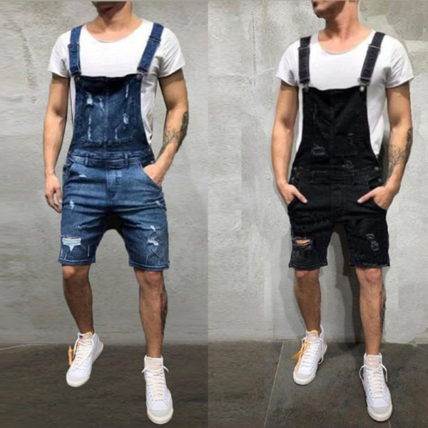 2020 Oversize Fashion Men s Ripped Jeans Jumpsuits Shorts Summer Hi Street Distressed Denim Bib Overalls 6