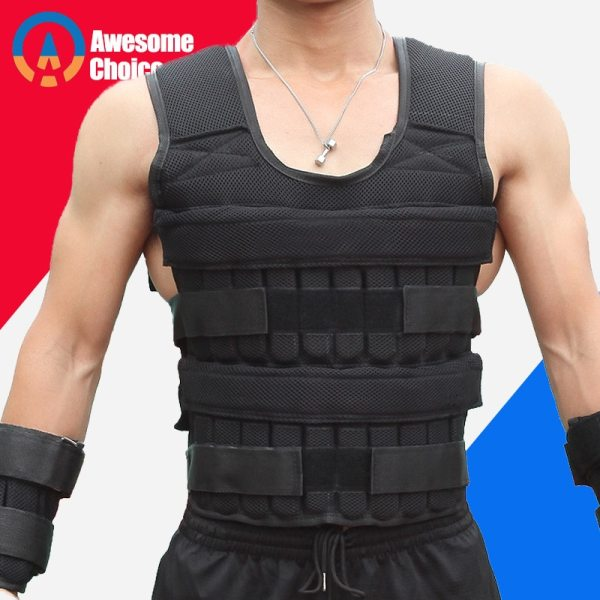 30KG Loading Weight Vest For Boxing Weight Training Workout Fitness Gym Equipment Adjustable Waistcoat Jacket Sand