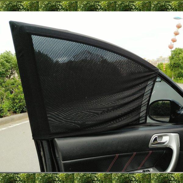 Black 2Pcs Adjustable Auto Car Side Rear Window Sun Shade Black Mesh Car Cover Visor Shield