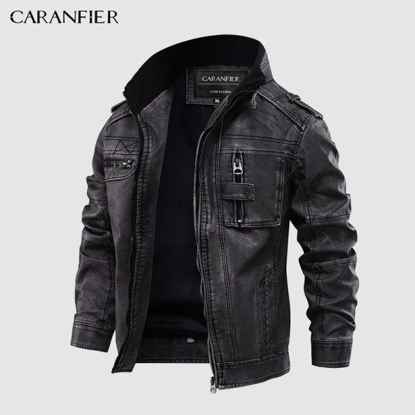 CARANFIER Mens Leather Jackets Motorcycle Stand Collar Zipper Pockets Male US Size PU Coats Biker