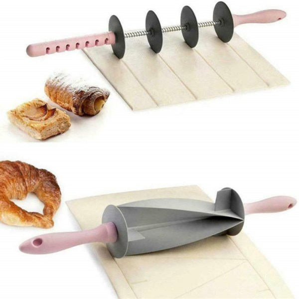 DIY Croissant Rolling Pin Non Stick Cutter Cake Dough Roller Baked Croissant Pastry Baking Tools Noodle