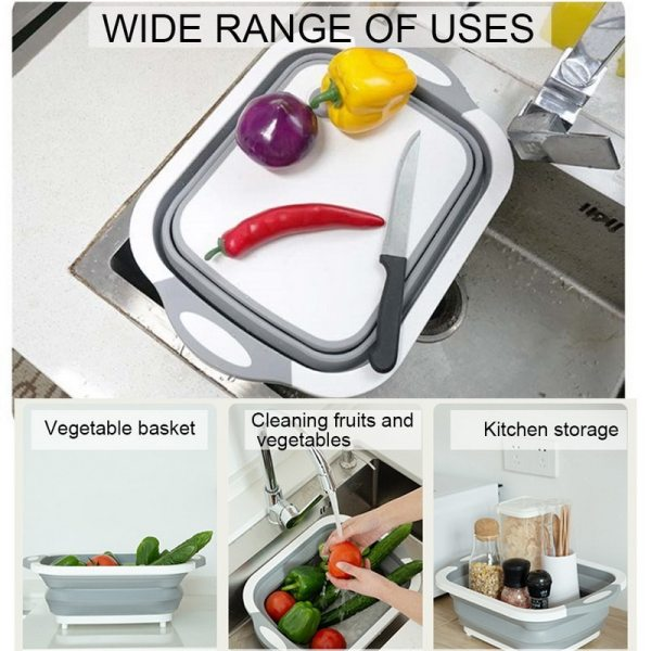 Dozzlor Collapsible Chopping Block Foldable Cutting Board Kitchen Silicone Cutting Board Fruit Washing Basket With Draining