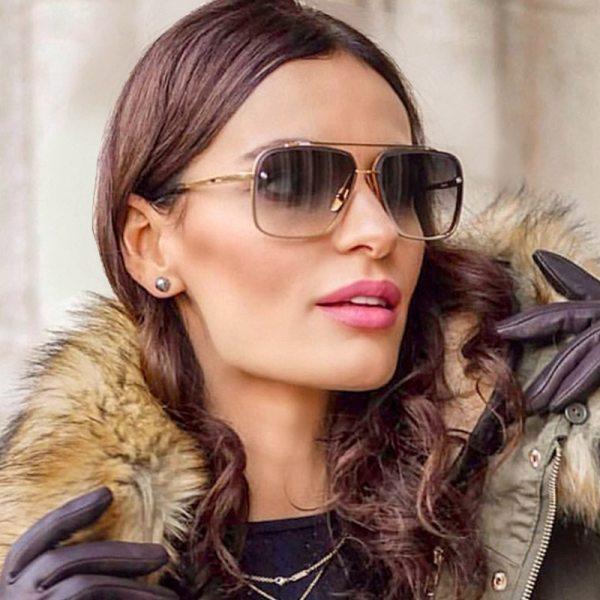 High Quality Women s Square Cutting Lens Sunglasses Men Brand Designer Ins Trend Gradient Sun Glasses