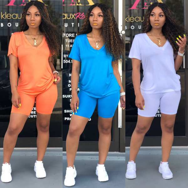Hot sale o neck casual summer women set short sleeve soft tops and shorts suit women