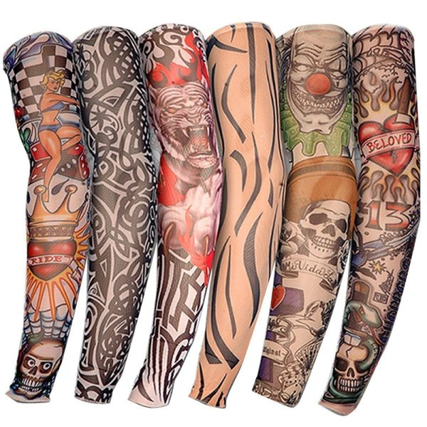 LEARNEVER 6 pcs set Fashion Temporary Fake Tattoo Sleeves Arm Art Design Kit Nylon Party Arm