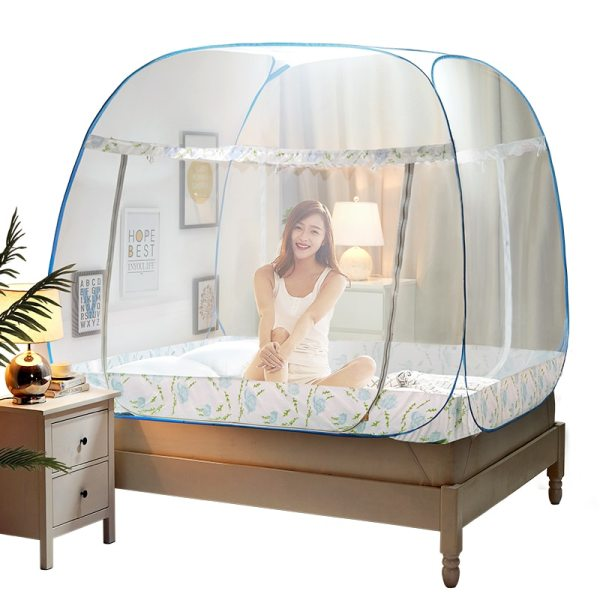 Pink Blue Portable Mosquito Net for Double Bed Folding Tent Bed Bed Canopies Adults Yellow Mosquito
