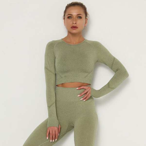 Solid Slim Women T Shirts O Neck Elastic Back Top Cropped Long Sleeve Fit Sports Casual