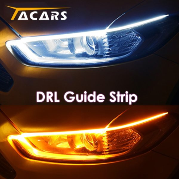 2x Ultrafine DRL 30 45 60cm Daytime Running Light Flexible Soft Tube Guide Car LED Strip