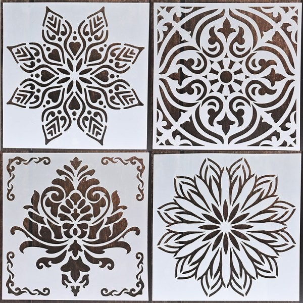 4pcs 15x15cm painting mandala wall stencil for DIY painting model floor tile fabric wall mold furniture