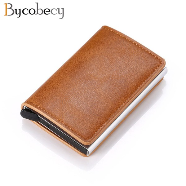 Bycobecy Credit Card Holder Wallet Men Women Metal RFID Vintage Aluminium Bag Crazy Horse PU Leather