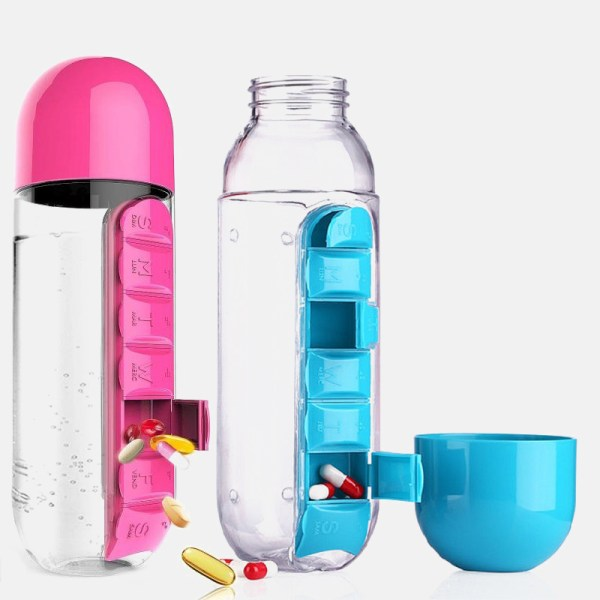 Direct Drinking Bottles hot Water Bottle Travel 600ML Bottle With Plastic Pill Box A Day Organizer