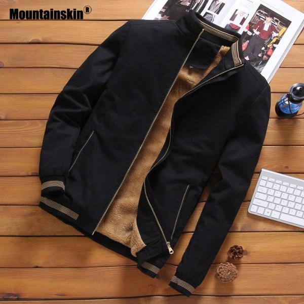Mountainskin Fleece Jackets Mens Pilot Bomber Jacket Warm Male Fashion Baseball Hip Hop Coats Slim Fit