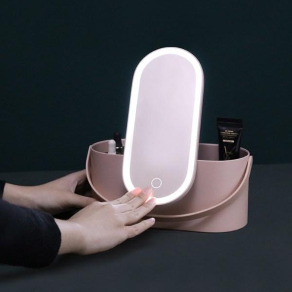 Travel Makeup Tools Cosmetics Organizer With LED Lights Makeup Mirror Creative 2 In 1 Portable Makeup