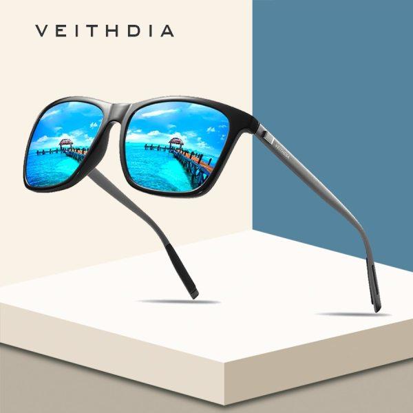 VEITHDIA Brand Unisex Retro Aluminum TR90 Square Polarized Sunglasses Lens Vintage Eyewear Accessories Sun Glasses For