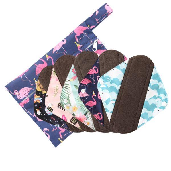Free Shipping Reusable Hygiene Menstrual Pads Women Sanitary Pads Bamboo Charcoal Lady Cloth Pads Wholesale 5pcs