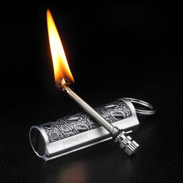Metal Reusable Endless Match Flint Fire Fire Starter Kerosene Oil Flame Keychain Lighter Portable Outdoor Survival