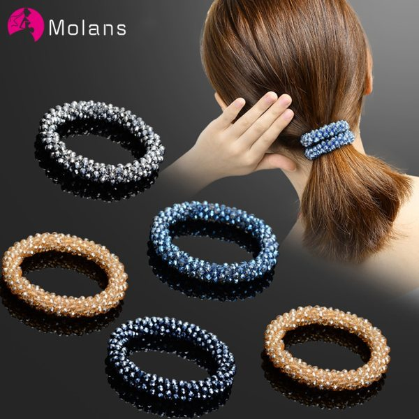 Molans Fashion Hair Accessories for Women Solid Color Temperament Beads Elastic Hair Bands Bling Silver Beads